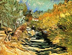 A Road in St. Remy with Female Figures, Vincent van Gogh 1889