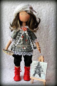 """Коллекционные куклы ручной работы. Ярмарка Мастеров - ручная работа Текстильная кукла художница """"PARIS"""" ПРОДАНА. Handmade."""