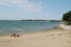 Pleasure Bay - one of Boston's most popular swimming and sunny beaches. Because the bay is fully enclosed by the Head Island Causeway and water quality is consistently high