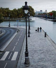 Road, bikeway and walkway along the Canal Saint-Denis, Paris. Visit the slowottawa.ca boards >> http://www.pinterest.com/slowottawa/
