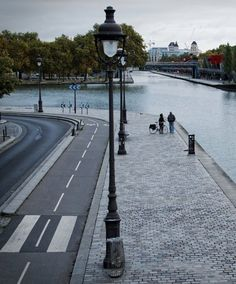 Road, bikeway and walkway along the Canal Saint-Denis, Paris. Visit the slowottawa.ca boards >> http://www.pinterest.com/slowottawa/