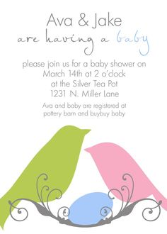 Bird Baby Shower Invitation