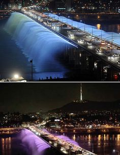 Seoul's Banpo Bridge of Korea turns into a gigantic fountain.