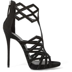 Giuseppe Zanotti Raquel cutout suede sandals ($1,055) ❤ liked on Polyvore featuring shoes, sandals, heels, black, giuseppe zanotti sandals, high heel sandals, black suede shoes, black stilettos and platform sandals