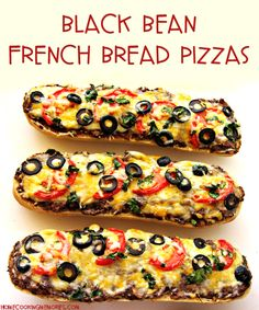 Black Bean French Bread Pizzas (great way to use up leftovers from burrito night!)