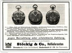 Original-Werbung/Inserat/ Anzeige 1910 - TASCHENUHREN / STÖCKIG & CO. DRESDEN ca. 140 x 105 mm