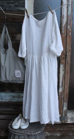 White Linen Dress MegbyDesign More: