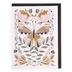 Happy birthday butterfly and flowers card