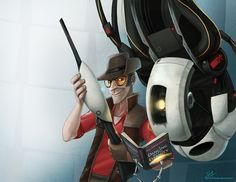 Portal meets Team Fortress you know that the voice of the Sniper on is married to the voice of GLaDOS? That makes me so happy! Team Fortess 2, Meet The Team, Combustible Lemons, Tf2 Sniper, Character Bio, Valve Games, Best Crossover, All Jokes, Portal 2