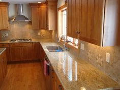 light maple cabinets with brown granite - Google Search