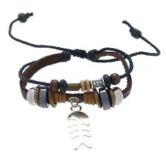 Fish Bone Pendant Leather Bracelet Adjustable 6.5 to 12 Inches SWEETIE 8. $10.17. Comes with Gift Box and Polishing Cloth. With Metallic Beads, GunMetal Beads, Wood Beads,. Beads and Charms are not removable. Trendy two strands calf leather braclet. Adjustable with pull cords from 6.5 inches to 12 inches. Save 61% Off!