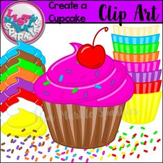 """Sweeten up your resources by adding some vibrant, fun cupcakes! Mix and match nine different rainbow colors of """"cups"""", icing, sprinkles, and of course, a cherry on top to finish it off! Great for color recognition activities, matching games, and classroom decorations! Personal and commercial use acceptable!"""