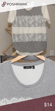 Apt 9 Cotton and Lace Short Sleeve Tee Grey and cream feminine top.  Great condition! Apt. 9 Tops Tees - Short Sleeve