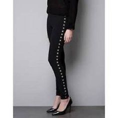 ZARA black gold star leggings trousers pants size Small NWT