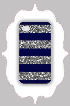 iPhone Case- Navy/Silver Glitter Stripe- iPhone 4 Case, iPhone 4s Case, iPhone 5 Case, Monogram Case, Personalized iPhone Case