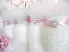 1 Lavender Baby Shower, Bridal Shower, Wedding (any event) Vase. These are so dainty & most elegant. These Hand Glittered pretties will look Chic Bridal Showers, Bridal Shower Decorations, Bridal Shower Favors, Wedding Reception Decorations, Bridal Shower Invitations, Wedding Centerpieces, Baptism Decorations, Centrepieces, Decor Wedding