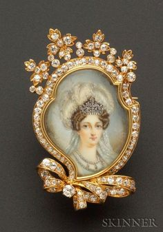 Antique 18kt Gold, Portrait Miniature, and Diamond Pendant/Brooch, Tiffany & Co., depicting the Duchesse d'Angouleme