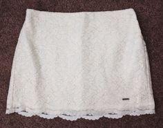 Girl's Abercrombie Kids Ivory Gold Lace Mini Skirt Size S Small Elastic Waist #AbercrombieFitch #Mini #DressyEverydayHoliday