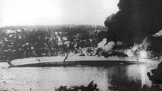 The German heavy cruiser Blücher sinking during the German invasion of Norway in April 1940.