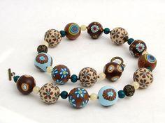 Mein Liebling  Kette Polymer Clay Perlen Desi... von Künstler-Perlen und Schmuck aus Polymer clay und Fimo auf DaWanda.com