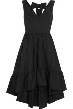 Fendi - Appliquéd Cotton-taffeta Midi Dress - Black - IT46