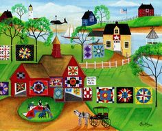 quilts sea horse print painting folk art cheryl bartley designs