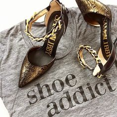"""SHOE ADDICT"" Tank Yep, So True for many of us! Super Cute Shoe Addict Gray loose fitting Tank!! Final Sale Tops Tank Tops"
