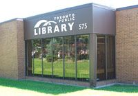 Pleasant View Branch Toronto Public Library. Opened by the North York Public Library Board in co-operation with the North York Parks and Recreation Department, 25 June 1975. Seligman and Dick Architects. Retrofitted 1995.