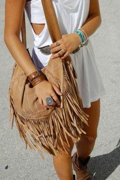 boho chic accessories: fringe handbags