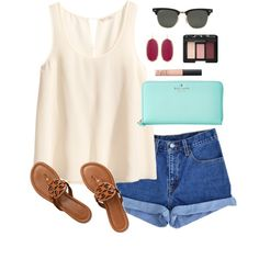 A fashion look from July 2014 featuring H&M tops, Levi's shorts and Tory Burch sandals. Browse and shop related looks.