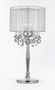 Silver Mist 3 Light Chrome Crystal Table Lamp with White Shade Transitional Contemporary Modern Table Lamp Dean http://www.amazon.com/dp/B00RY8S1LG/ref=cm_sw_r_pi_dp_7giTub1KD3KSW