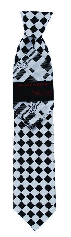 Steven Land Ties High Density  HD84-1 $49 3 1/2 inch silk overknot tie with coordinated Hanky #StevenLand #BlackAndWhite