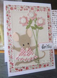 Het eerste kaartje heb ik voor een kanjer gemaakt en weer het muisje van Eline gebruikt. Het tweede kaartje is voor mijn voorraaddoosje....