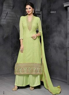 Pista Green Viscose With Fancy Embroidery Work Pakistani Suit