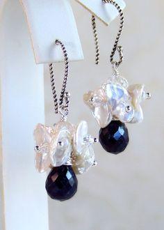 Sapphire & Keshi Pearl Cluster Drop Earrings- Sterling Wire Wrapped- Wedding- Artisan Handmade Jewelry- Under $50.