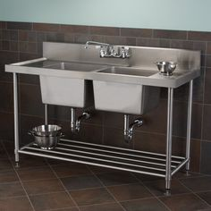"Stainless Steel Double Well Commercial Console Sink with Shelf - 48"", 59"""
