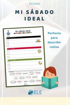 Planea el sábado ideal y conversa con tus alumnos Deaf Children, Converse, Bullet Journal, Map, Writing Exercises, Creative Writing, Hobbies, Spanish Classroom, Note Cards