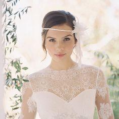 Thin bridal forehead band silk flowers por EricaElizabethDesign, $225.00