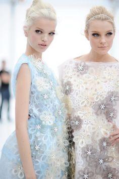 delicate pastel flower dresses, blonde hair, beautiful eye makeup