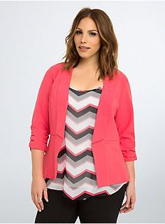 """<p>Heat up any water-cooler discussion. This work-ready blazer is lightweight and easy-moving; the sculpted (and vibrant) rouge red style has a drape front that flatters and ruched sleeves that play up your proportions. Faux front pockets.</p>  <p></p>  <p><b>Model is 5'9.5"""", size 1</b></p>  <ul> <li>Size 1 measures 27 5/8"""" from shoulder</li> <li>Polyester/rayon/spandex</li> <li>Wash cold, dry low</li> <li>Imported plus size blazer</li> </ul>"""