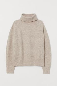H&M Knit Turtleneck Sweater - Beige Fashion Art, Fashion Outfits, Fasion, Ribbed Turtleneck, Polo Neck, Brown Sweater, Cable Knit Sweaters, Oversized Sweaters, Fashion Company