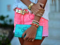 Neon pink and blue with gold jewelry