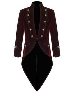 Pentagramme Mens Steampunk Tailcoat Jacket Red Velvet Goth VTG Victorian