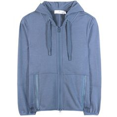 Adidas by Stella McCartney Ess Cotton-Blend Hoodie ($115) ❤ liked on Polyvore featuring tops, hoodies, blue, adidas hoodies, blue hoodie, hooded pullover, adidas and sweatshirts hoodies