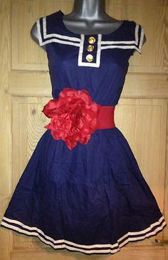 BLUE NAUTICAL SAILOR SWING VTG 1950s pin up TEA dress ROCKABILLY BNWT 8 10 12