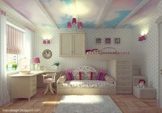 Charming Girls Bedroom Design with Cloud Ceiling Mural and Full Wall Decal from Irako Design | Kids Room
