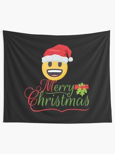 'Merry Christmas Emoji JoyPixels With Santamoji' Tapestry by el-patron Tapestry Design, Wall Tapestry, Textile Prints, Sell Your Art, Vivid Colors, Emoji, Classic T Shirts, Merry Christmas, Christmas Decorations