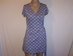 VOICE Tunic Top Sz M Wrap Shirt Stretch Short Sleeves Poly Spandex Womens Casual #Voice #Wrap #Casual