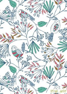 pattern birdies | Estampas | Pinterest / Pattern / Ideas / Design / Inspiration / Sutil / Delicate / Birds / Animals / Fauna / Botanical / Nature / Plants / Blue / Green / Quirck / Scandinavian