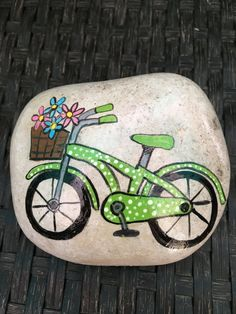 Painted Rock/Green Bicycle by RegnierProductions on Etsy